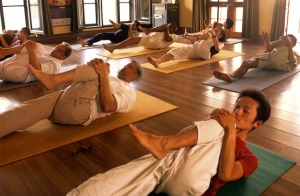 Asana class at the Sivananda Ashram, Rishikesh