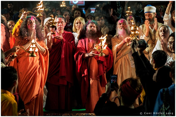Fire Aarti at river Ganga at the day of Holi Festival
