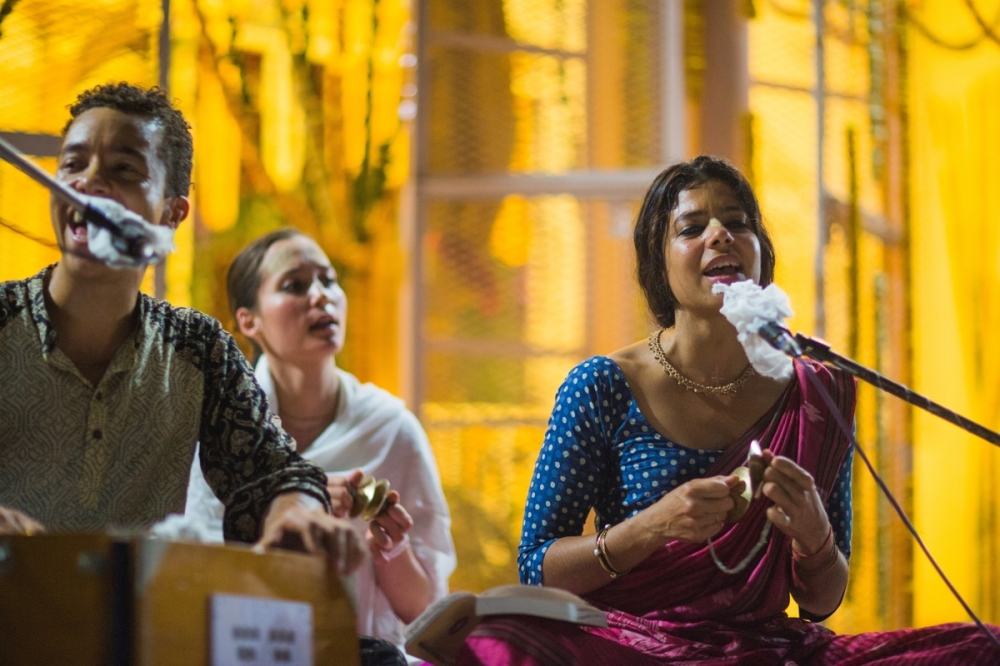 Singing Kirtans at the Bakthi Pilgrimage